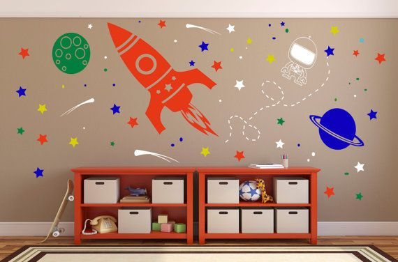 Outer Space Wall Decal Rocket Vinyl Wall Decor by Wallinkdesign