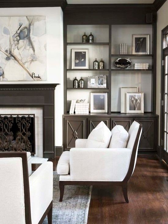 Linda McDougald Design: Fantastic living room with warm gray fireplace built-ins and canvas art over fireplace. ...
