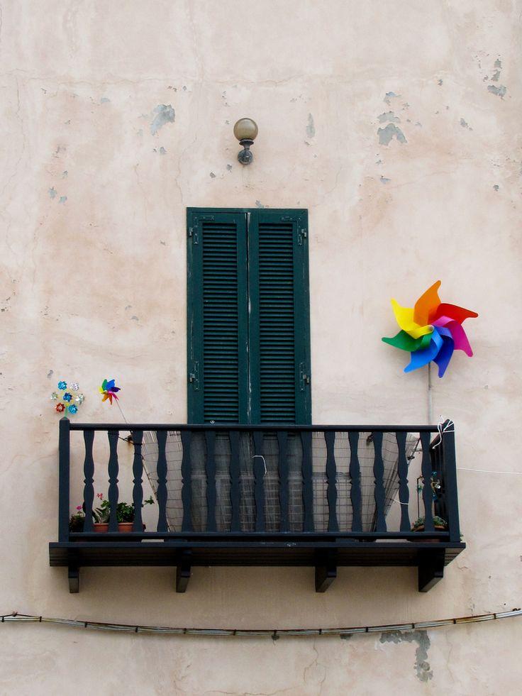 Window balcony in Alghero, Sardinia_ Italy