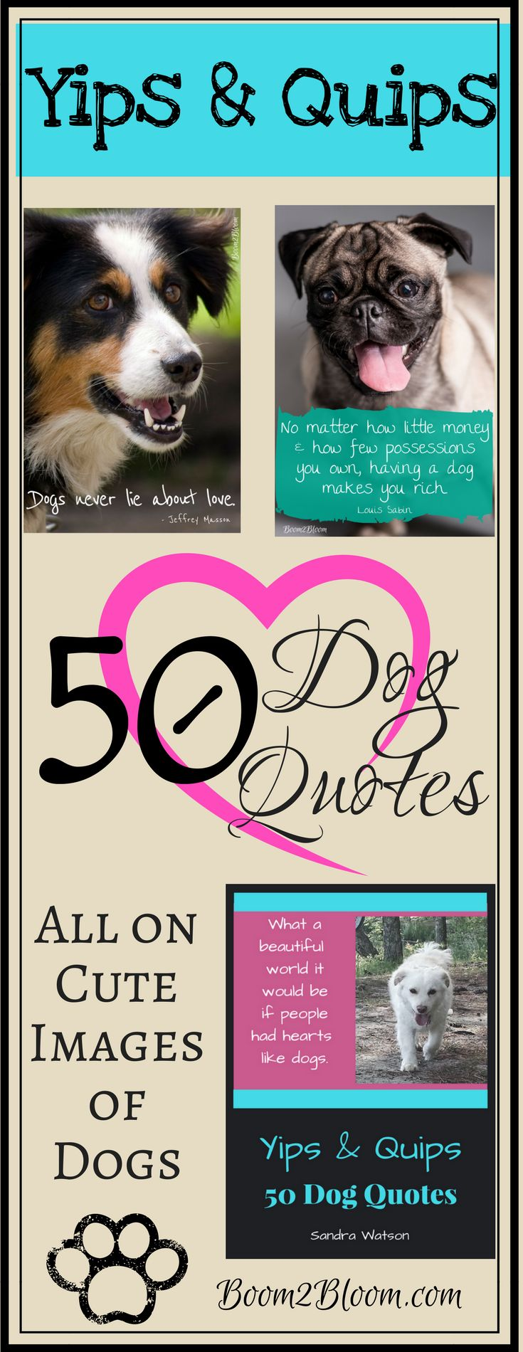 Yips & Quips: 50 Dog Quotes eBook contains 50 quotes about the unconditional love, pure soul and absolute devotion of dogs. Each quote is written on a gorgeous image of a dog or on fun graphics. Print off as an eBook or by individual pages for framing. 52 pages. Dogs are easy to understand–they love and want to be loved! Dog Quotes. By Sandra Watson. Pets. Dogs eBook. #DogQuotes #Dogs #Pets #DogEBook #Puppies #Quotes #Animals #PetQuotes #DogArt