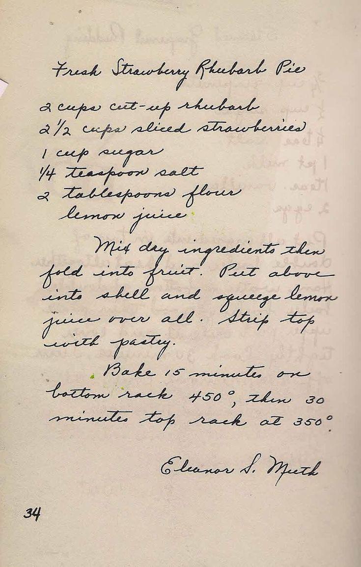 Old New England Recipes: Strawberry Rhubarb Pie Vintage Recipe Boston, MA
