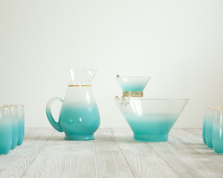 Punch Bowl Set Aqua Ombre Glasses, Pitcher & Punch Bowl by Etsy seller DailyGeneral