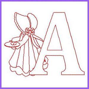 Sunbonnet Alphabet - Free Instant Machine Embroidery Designs
