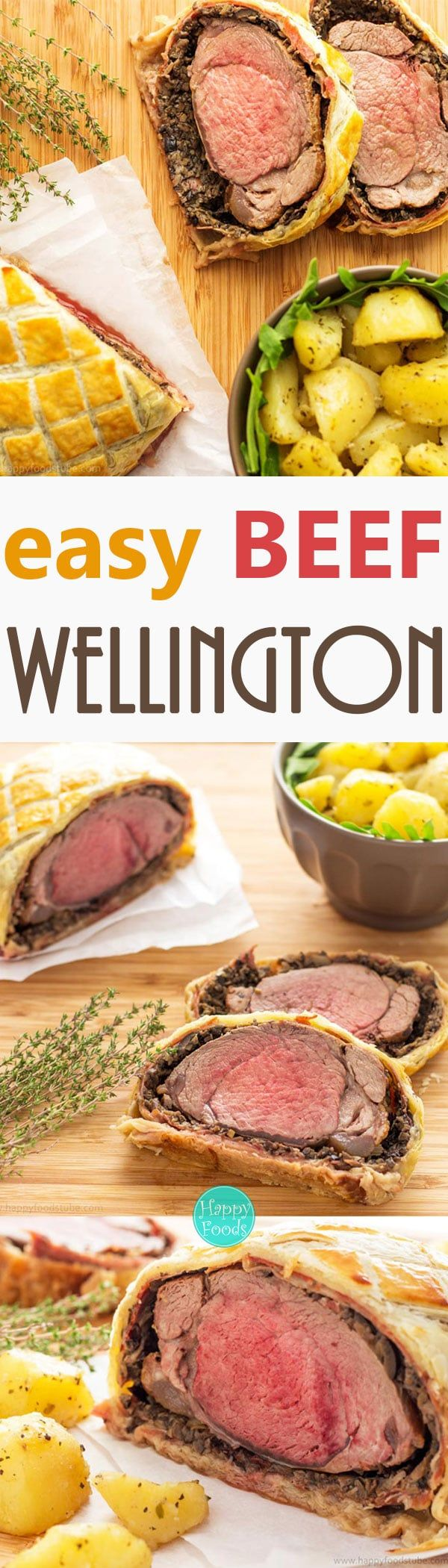 Easy Beef Wellington recipe what everyone can cook at home. If you are looking for a fancy dinner idea, look no further! via @happyfoodstube