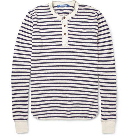 Junya Watanabe Striped Cotton-Pique Henley T-Shirt   MR PORTER