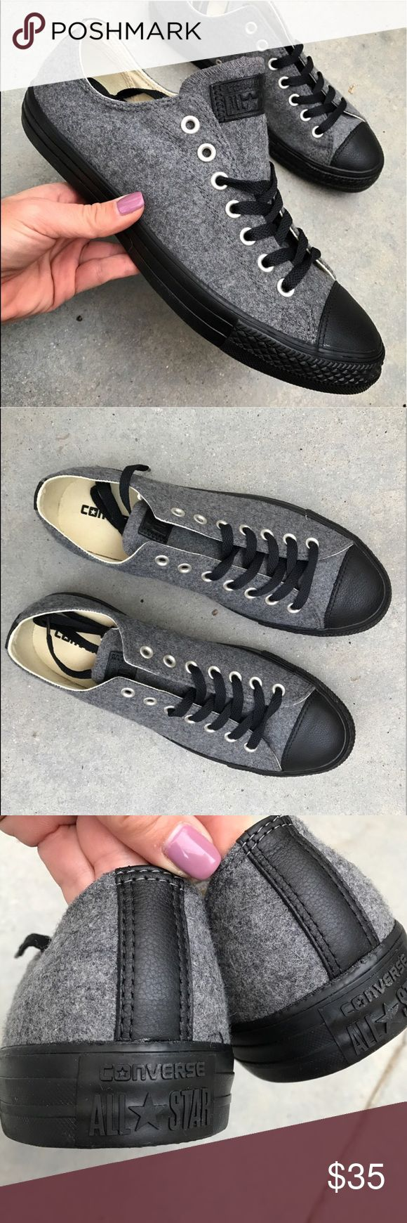 NWOB | CHUCK TAYLOR ALLSTAR LOW SZ 9.5 MEN NWOB 👣 CHUCK TAYLOR ALL STAR CONVERSE. One of each size available. Size 9.5 men's   RARE | Take your chucks game to a whole new level with these. 👣 GREY FELTED WOOL. BLACK LEATHER TOE SHELL & ACCENTS. BEAUTIFUL QUALITY.  Ships same or next day from my smoke free home. No box. Will be shipped securely.   Bundle items to save. Shop with posh and don't pay the sales tax! 🤑  100% AUTHENTIC AND DIRECT FROM CONVERSE. Converse Shoes Sneakers