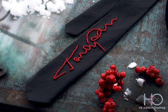 Gagarin necktie. Bead embroidery tie. Space tie. Gift tie.
