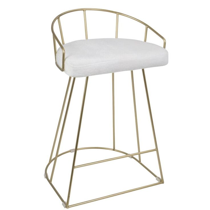 Canary Contemporary Counter Stool in Gold and White Mohair Fabric  - Set of 2