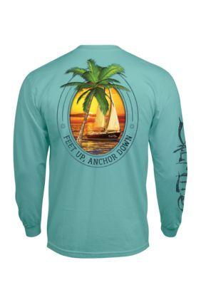 Salt Life Men's Feet Up Anchor Down Long Sleeve Pocket Tee Shirt - Aruba Blue - 2Xl