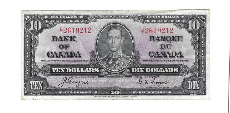 Details About Bank Of Canada 10 Dollar Bill January 1937 2619212