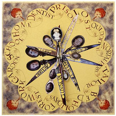 Keep track of the time Harry Potter style with this Weasley Family wall clock. The two working hands on this clock feature Ron and Ginny, the rest of the family are printed on the background and gives the illusion of the actual clock seen in the Harry Potter movies. Measures 12 inches square and requires one AA battery (not included). Body of clock made of high quality glossy cardboard.