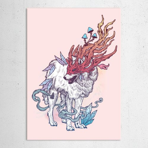 """Spirit Wolf"" metal poster by Mat Miller #animal"