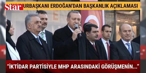 """Cumhurbaşkanı Erdoğandan Başkanlık açıklaması: İktidar partisiyle MHP arasındaki görüşmenin... : Cumhurbaşkanı Erdoğan Cevahir Haliç Alışveriş Merkezinin açılışının ardından alışveriş merkezi önünde bekleyen vatandaşlara seslendi. Cumhurbaşkanı Erdoğan """"Özellikle iktidar partisiyle MHP arasında sürdürülmekte olan bu anayasa görüşmesinin milletimiz ülkemiz için hayırlara vesile olmasını Allahtan temenni ediyorum"""" dedi…"""