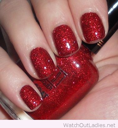 Red glitter nail polish for Christmas