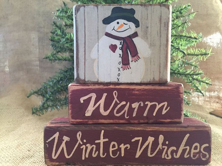 Primitive Country Snowman Warm Winter Wishes Shelf Sitter Wood Block Set #NaivePrimitive #DoughandSplinters