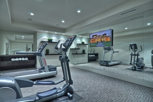 Home gym: Exercise Room, Home Gyms, Contemporary Homes, Workout Room, Basement, Gym Design, Photo, Brandon Architects, Gym Ideas