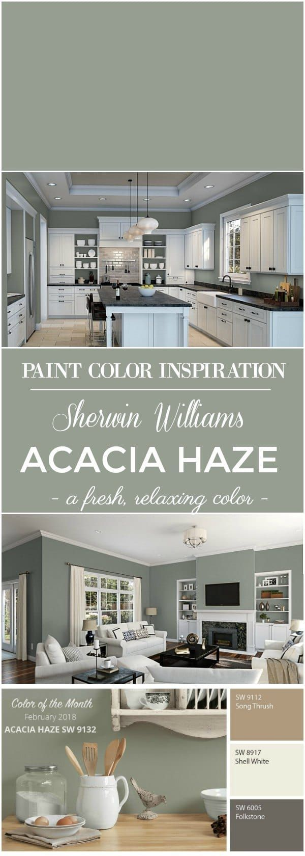 Color Inspiration - Sherwin Williams Acacia Haze Paint Color! This beautiful green paint color is the perfect color choice for the walls of a bedroom, living room, kitchen or for exterior siding and shutters of a home! This neutral paint color is fresh and relaxing! #paint #wall #colors #homedecor