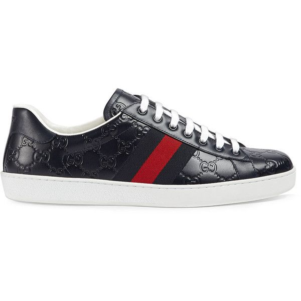 Gucci Ace Gucci Signature sneaker (£480) ❤ liked on Polyvore featuring men's fashion, men's shoes, men's sneakers, blue, mens blue leather shoes, gucci mens sneakers, mens leopard print shoes, mens rubber sole shoes and mens navy blue sneakers