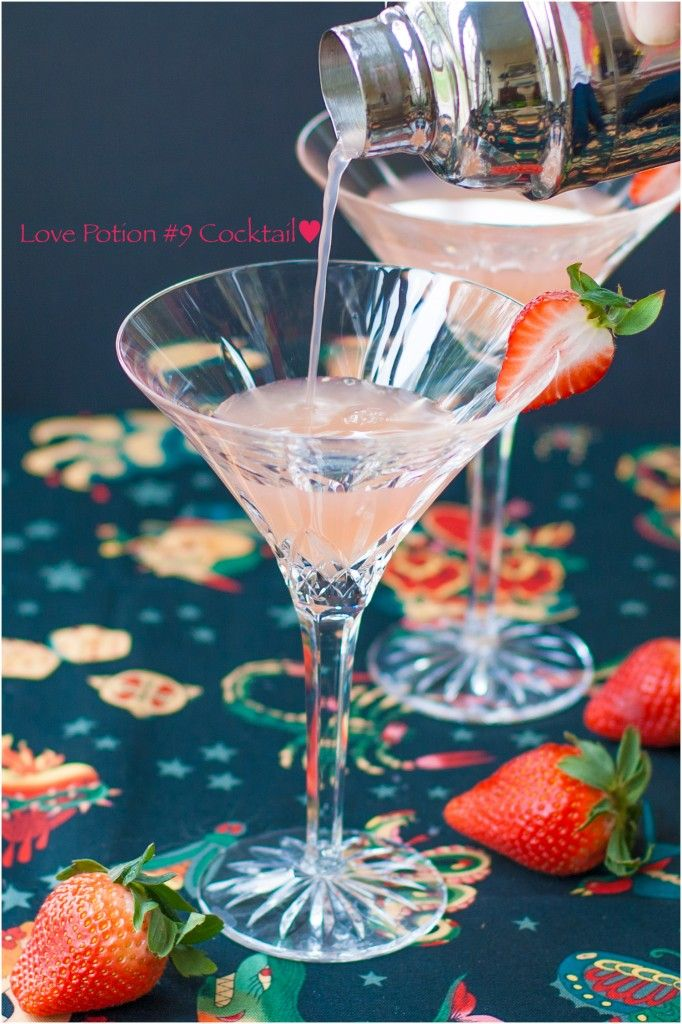 * * * Love Potion #9 --// 1½ ounces Vodka / ½ ounce Peach Schnapps / 3 ounces Pink Grapefruit juice / 1 Strawberry // In a martini shaker filled with ice add Vodka, Peach Schnapps, and Grapefruit Juice. Shake and pour into martini glass. Add ½ strawberry to rim of martini glass.