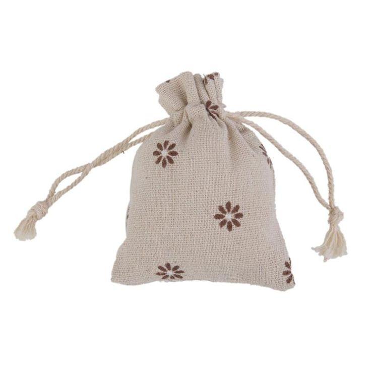 10PCS Daisy Linen Jute Sack Jewelry Pouch Drawstring Gift Bags Wedding Gift Bags Jewelry Packing Bags Wedding Pouches #Affiliate