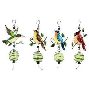 """Set of 4 Charming Multi-Colored Glass and Metal Outdoor Hummingbird Feeders 18"""""""