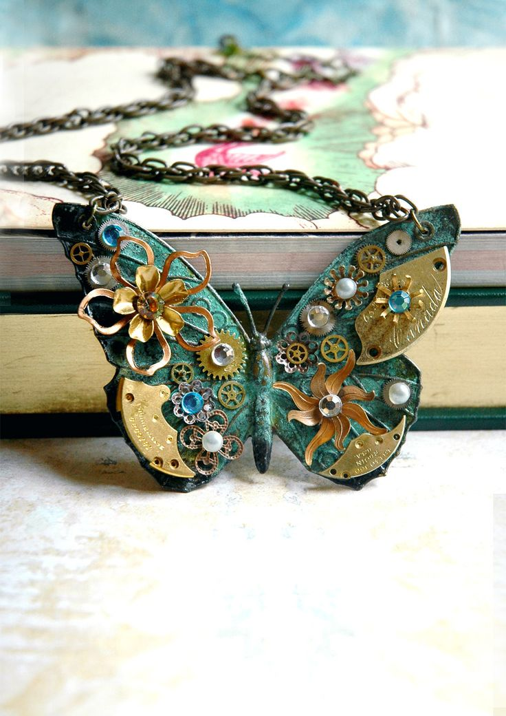 Steampunk Butterfly Necklace - Custom Design Green Patina Butterfly with Watch Gears Brass Flowers and Jewels. $110.00, via Etsy.
