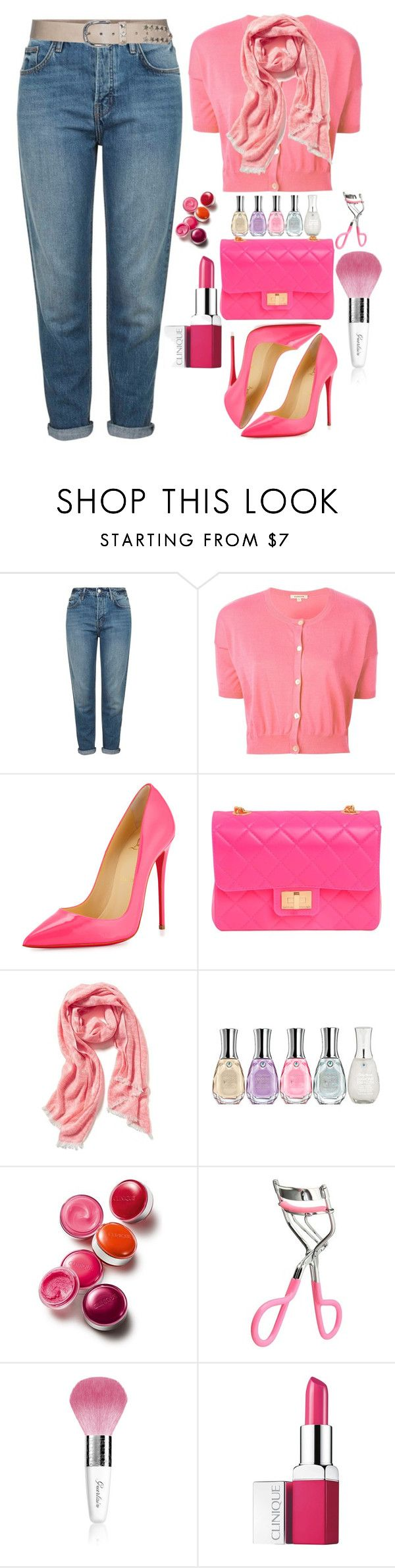 """Neon"" by grozdana-v ❤ liked on Polyvore featuring Topshop, P.A.R.O.S.H., Christian Louboutin, Design Inverso, Old Navy, Sally Hansen, Clinique, Guerlain, s.pa accessoires and women's clothing"