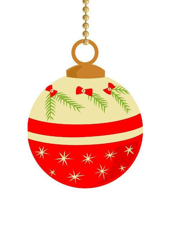 Vintage christmas ornament clip art pastel color