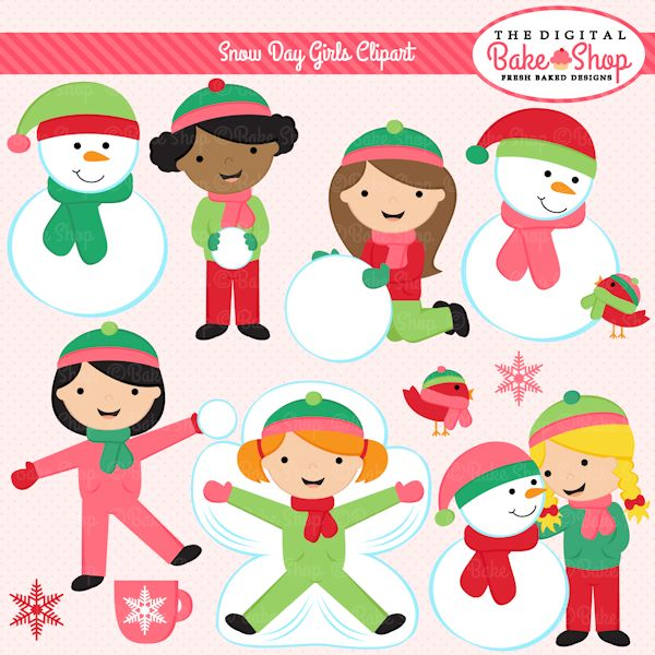 Snow Day Girls Clipart for Commercial and Personal Use http://mygrafico.com/idevaffiliate/idevaffiliate.php?id=469&url=503