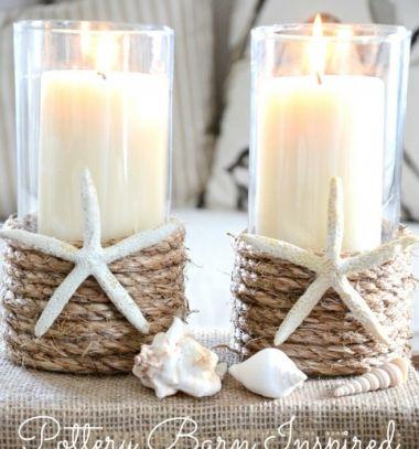 DIY Rope wrapped nautical vintage candle holder - summer beach decor // Tengerparti hangulatú vintage gyertyatartó kötéllel - lakásdekoráció // Mindy - craft tutorial collection