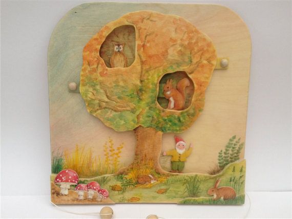 moveable wooden picture autumn by BirchandBeech on Etsy, £35.00