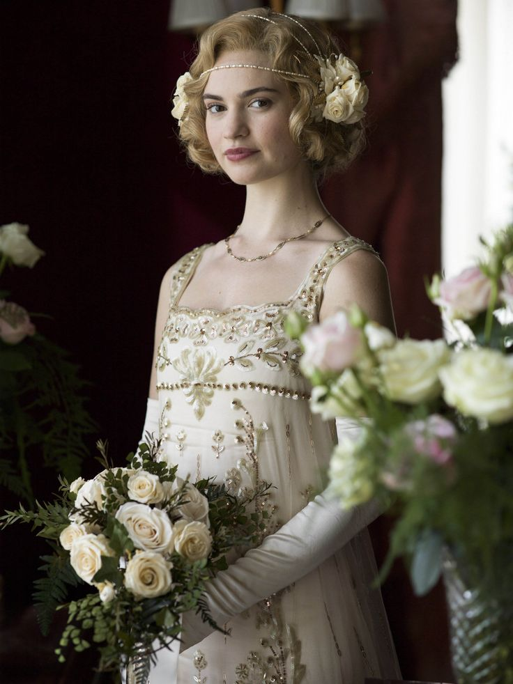 Lily James (as Lady Rose McClare) in Downton Abbey.