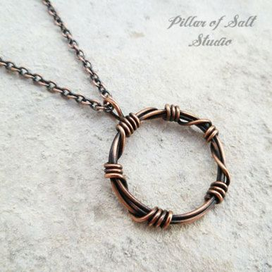 "Barbed Wire"""" circle pendant wire wrapped copper necklace"