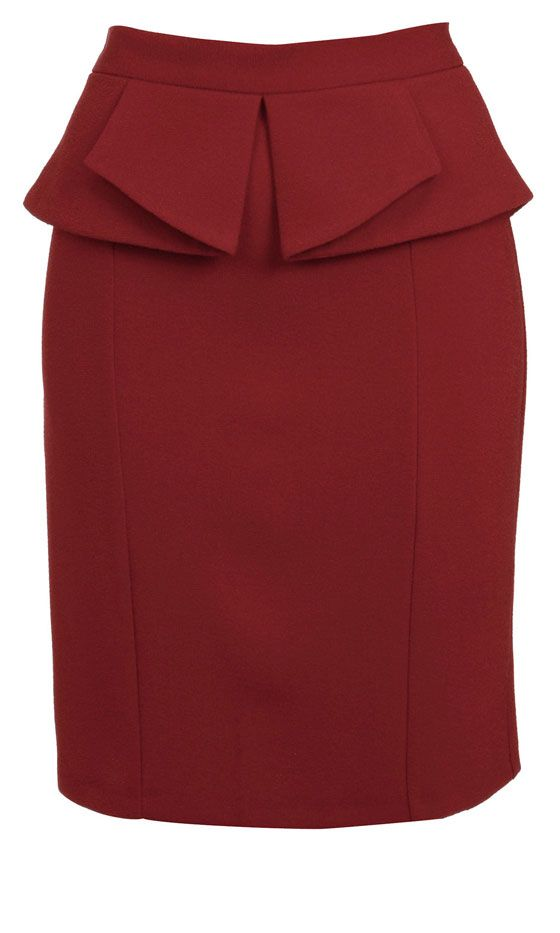 Miss Selfridge Red Peplum Skirt, £32