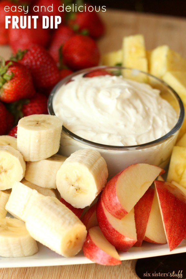Easy Fruit Dip from SixSistersStuff.com - only 2 ingredients needed!