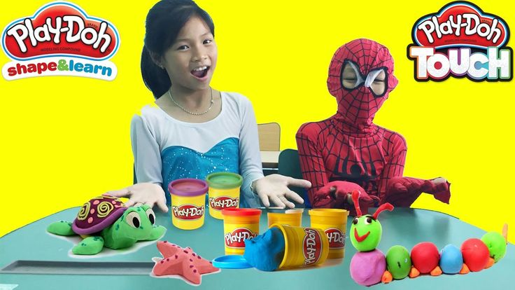 Spiderman and Frozen ELsa Baby AT SCHOOL LEARN COLORS PLAY DOH! Teach Sn...