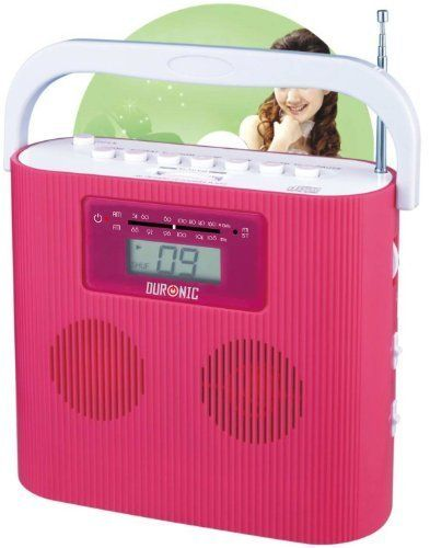 Duronic RCD025P Portable Pink CD Player with AM/FM Radio – Connect