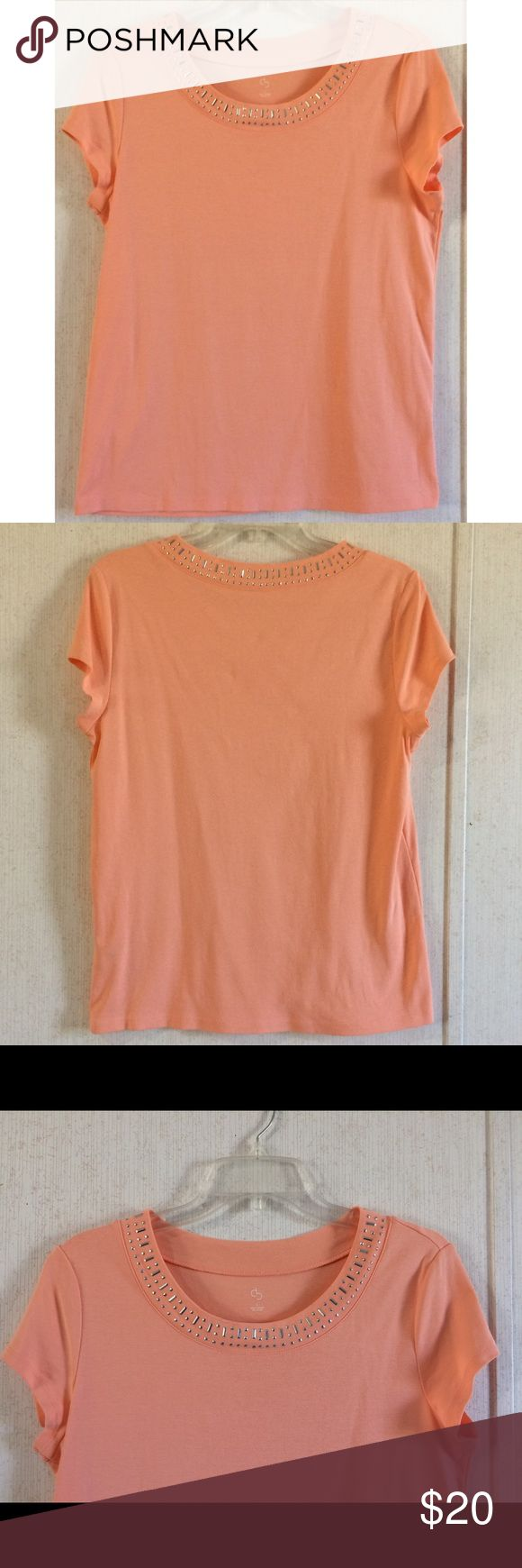 Dressbarn Embellished Coral Tee Excellent condition. Really nice Dressbarn tee shirt top. Coral pink/orange color. Sparkly silver jewels around the neckline. Soft 100% cotton knit material. Short sleeves, scoop neck. Size large. All offers welcome Dress Barn Tops Tees - Short Sleeve