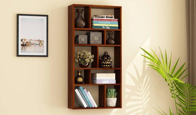Buy Taris Wall Shelf Honey Finish Online In India Wall Shelves Wooden Street House Furniture Design