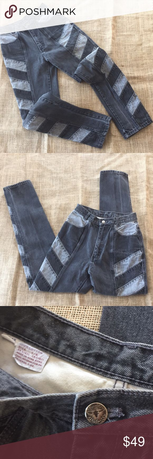 """Vintage Super High Waisted Gray Mom Jeans 😍 Vintage Super High Waisted Gray Mom Jeans 😍. In great preloved condition. Very unique light gray and darker gray panels on the sides. 100% cotton. Size tag says 5/6. Please check all the measurements that I've provided to make sure they fit you! Waist-22.5"""", rise-11"""", inseam-29.5"""", leg opening-12"""" around, hips-35"""". Originally from Sergio Valente. There is a small spot of fray near the left leg hem. Zip and button fly. Sergio Valente Jeans…"""