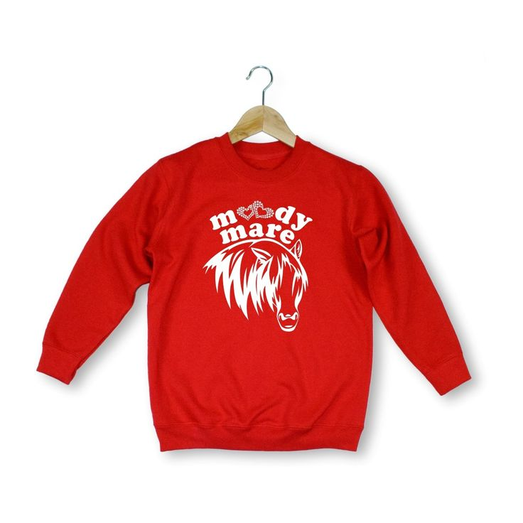 Stunning Moody Mare diamante style children sweatshirt -ideal xmas gift present -red