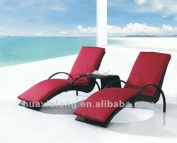 Hawaii Black Double Resin Chaise Lounge /beach Chair With Coffee Table And Cushions / For Beach,Swimming Pool,Outdoor - Buy Beach Rattan Lou...