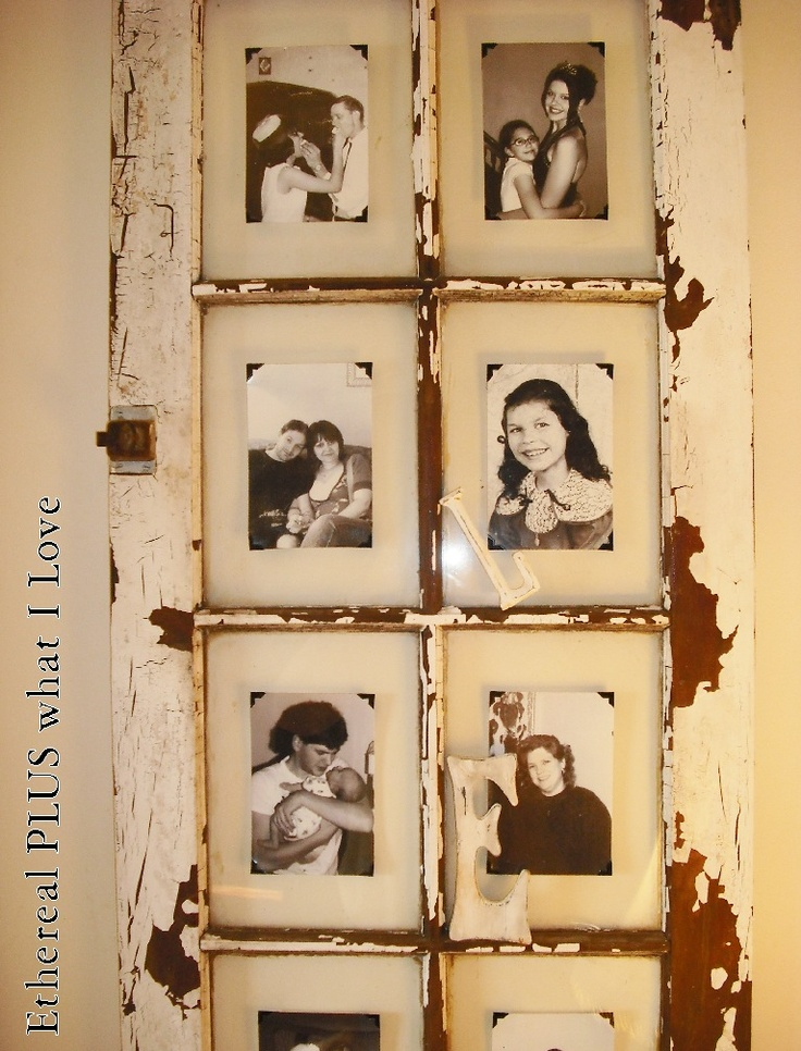 Nifty Idea for sticking photos to recycled window frames