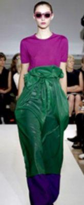 Фиолетовое пальто, зеленый пуловер,  синее платье, зеленая сумка