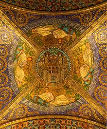 """""""Civitas Dei"""" (The City of God), Neo Byzantine style mosaic of the ceiling at the entrance of the Cathedral of Aachen, Aachen, Germany"""
