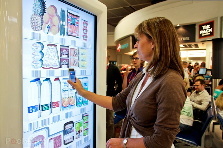 Tesco trials interactive virtual store at Gatwick Airport, for holidaymakers to pre-order groceries. Tesco, Home And Kitchen, iPhone apps, Android apps 0