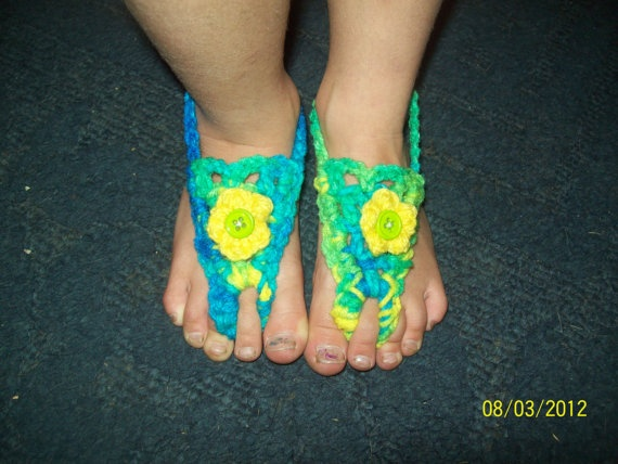 Blue and Yellow Toddler Barefoot Sandals by jamyescreations, $5.00Barefoot Sandals, Toddlers Barefoot, Yellow Toddlers