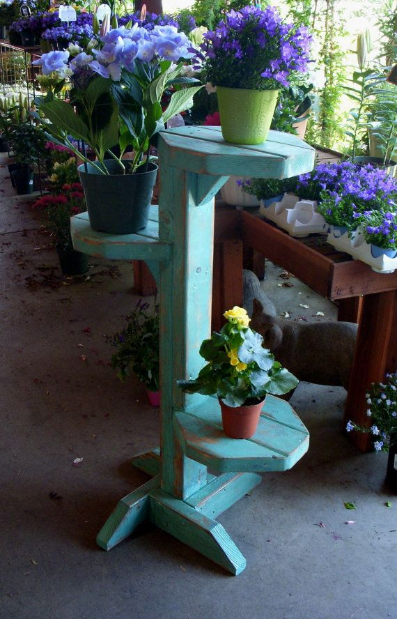 wood tiered stand for garden and home decor garden yard pinterest plant stands shabby. Black Bedroom Furniture Sets. Home Design Ideas
