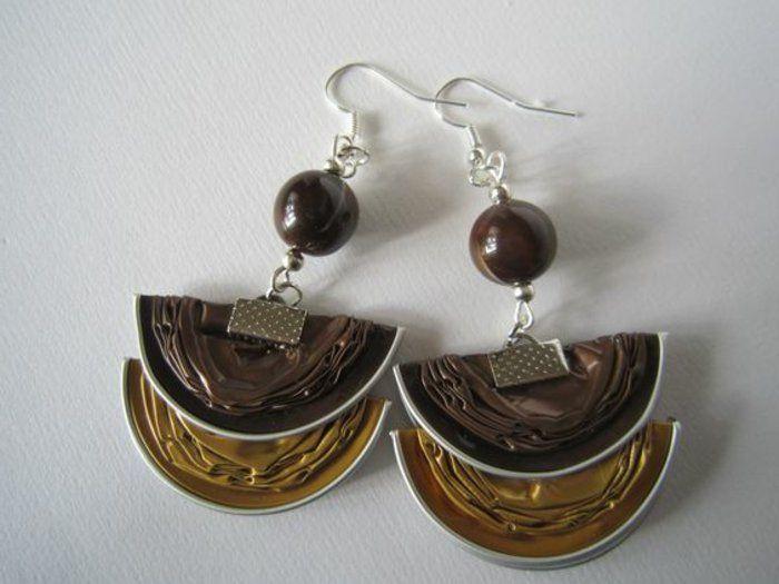 bijoux en capsules nespresso, boucles d'oreilles