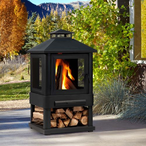 Bring warmth and ambiance to your outdoor living space with the Trestle Outdoor Fireplace. The fire is fully enclosed and elevated behind the four screen sides offering a focal point for friendly conversation. The Trestle Outdoor Fireplace can be adapted for Real Flame gel cans with the addition of the Real Flame 2-Can or 4-Can Outdoor Conversion log sets. Includes log poker tool and vinyl protective storage cover.